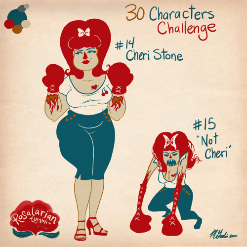 "Cheri Stone and ""Not Cheri"" (30 Characters Challenge #14 and #15) So, yesterday you were introduced to Brian Stone, the man who can make his tattoos come to life, and Sam Triggs, his tattoo artist sidekick. Cheri was married to Brian for a year before she died from a stomach flu. Never was a couple more in love. She was a Ladies' Golden Gloves queen, nearly undefeated in her semi-pro career. She loved baking, shoes, and burning things down. She worked in demolitions, and loved her job. She was like a stale cinnamon roll, tough but sweet. When Brian gained his powers, and asked Sam to tattoo Cheri on his back so he could bring her back to life, Sam took a few… liberties. For one, he's not very good at drawing people, and especially not good at drawing specific people. He also erroneously thought Brian might like his wife to be a bit thinner (Sam's own hangups getting in the way). And while Brian is a large man, his back wasn't big enough to render Cheri in a realistic size. What resulted was a monster, definitely Not Cheri. She is powered by the same magic that gives Brian his powers, and she has a mouth full of jagged teeth, spooky eyes, and insatiable bloodlust. Not Cheri was a problem the instant Brian peeled her off him. Her boxing gloves are part of her arms, and pack a mean punch. Not Cheri has left a trail of victims as she mindlessly runs around destroying things. When she's injured, she bleeds ink. There is debate as to whether Not Cheri counts as Brian's daughter, as she was born from his body. This doesn't help Brian's guilt as he tries to track down the monster he set loose. Geez, I really need to do something with these characters."