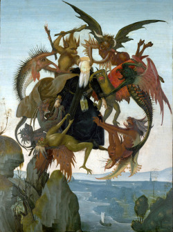 grottu:  kidsatan:  Michelangelo The Torment of St. Anthony   Where am Batman wheen you needs heem?  :(