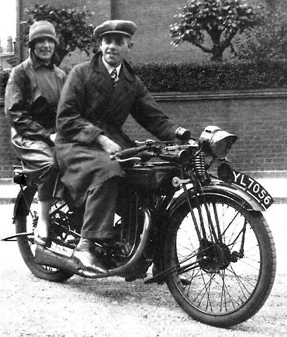 1925 Royal Enfield 350 Lovely photo received from Jonathan Lovejoy (UK) showing his Grandfather and his then fiancé, later his Grandmother. It was taken in North London. I can advise that it is a 1925 Royal Enfield 350.  numberplate pretty accurately; YL was a registration issued by London County Council between July/November 1925.  motorcycle expert Geoff Morris confirms that the motorcycle is 350 cc, OHV, and a sporty model, and lady's semi-cloche hat suggest photo from late '20s