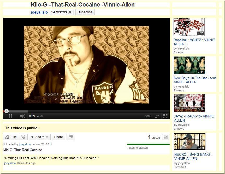 "Check Out! My New Youtube.com Video! Kilo-G -That-Real-Cocaine -Vinnie-Allen http://www.youtube.com/watch?v=D_vdnaS_bvE ""Ain't Nothing But That Real Cocaine..Nothing But That Real Cocaine"""