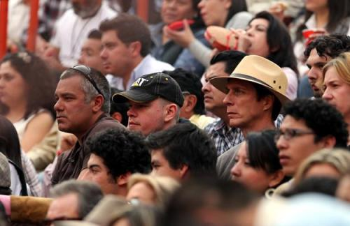 William fichtner and Matt Damon watching a bullfight in Mexico City on November 20, 2011