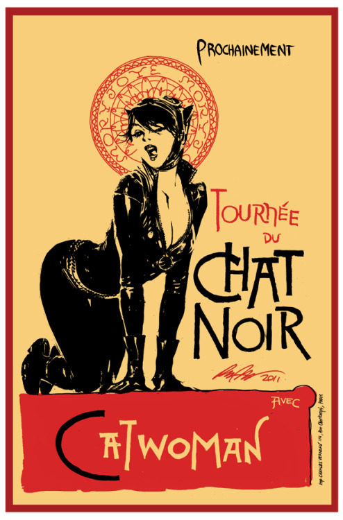 meagan-marie:  Genius.  herochan:  Catwoman: Chat Noir   Based on Théophile Steinlen's 1896 advertisement poster for the Le Chat Noir's troup of cabaret entertainers. Created by Rafael Albuquerque   I want this on my wall.