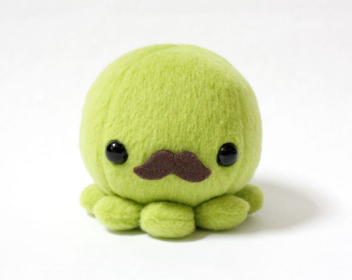 Green Octopus Plush Toy with Moustache