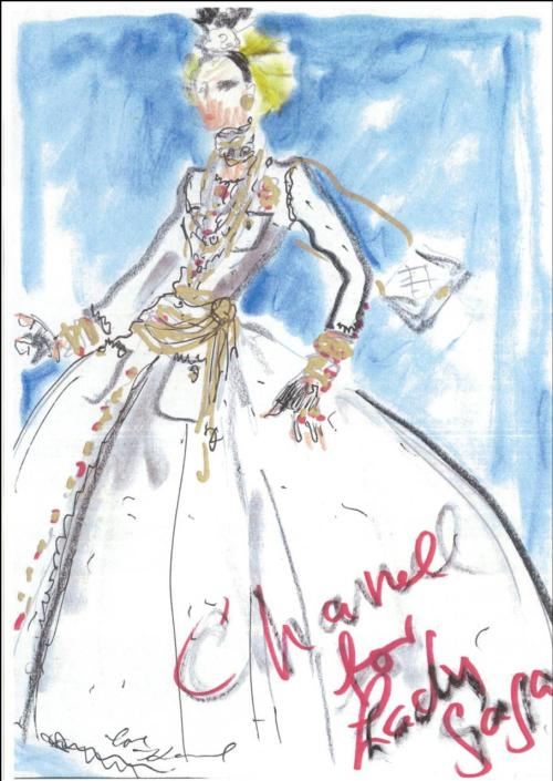 A sketch of the Chanel dress Karl Lagerfeld designed for Lady Gaga to wear to last night's Barneys window unveiling bash. (Say that three times fast.) The tweed dress features camellias, pearls and bows. 'Natch.  Sketch courtesy of Karl Lagerfeld/CHANEL