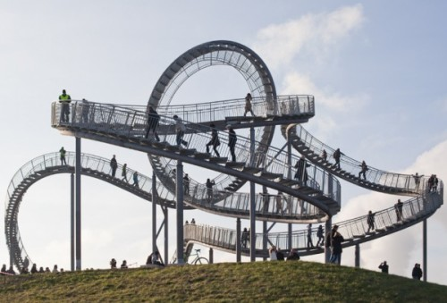 "notthattypeofdoctor:  blerg:  Tiger & Turtle-Magic Mountain: a pedestrian ""roller coaster"" by Heike Mutter and Ulrich Genth in Duisburg Wanheim, Germany  A beautiful waste of steel, although I take it that loop is purely ornamental?"