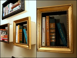 truebluemeandyou:  DIY Picture Frames Turned Shelving. No real tutorial because all you do is add a wood base/box to a frame and hang it. From Change of Scenery here.