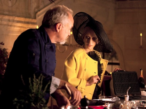 A nearly unrecognizable Lady Gaga cooking with Art Smith for ABC's Thanksgiving special, A Very Gaga Thanksgiving.