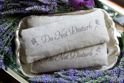 DIY Lavender Eye Pillows. This tutorial also shows you how to run linen through your printer (although I'd probably use iron-on color-fast ink jet printer cloth), and I would also stick with flax seed and not rice. Also posting because this has an expensive boutique look to it and you could use muslin (with liner) instead of linen. Tutorial at Centsational Girl here.