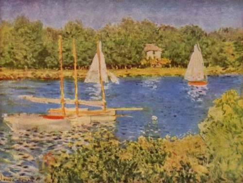 "Claude Monet, The Seine at Argenteuil, 1874 One of the most revolutionary things that the Impressionists started was painting ""en plein air,"" or outdoors. This sounds pretty standard nowadays, I mean, who hasn't seen some dude set up with an easel by a river bank, but back then it was just not done. Artists drew the outline for their paintings outdoors sometimes, but would then go back to the studio and work on it for days in candlelight. This gorgeous, light, airy painting was done as Monet actually gazed at the river."