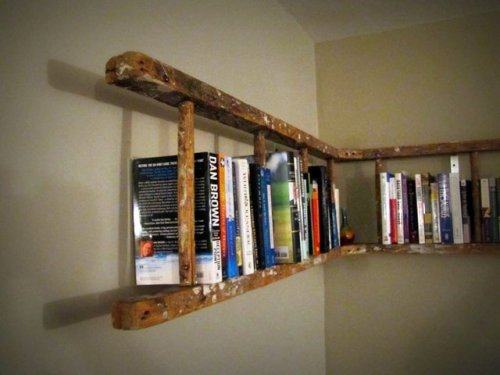 I want.  micasaessucasa:  Antique Wooden Ladder Bookshelf