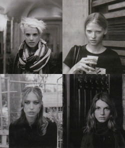 betzern:  Agyness Deyn, Lara Stone, Raquel Zimmermann and Angela Lindvall for Interview september 2008 by Anna Bauer.