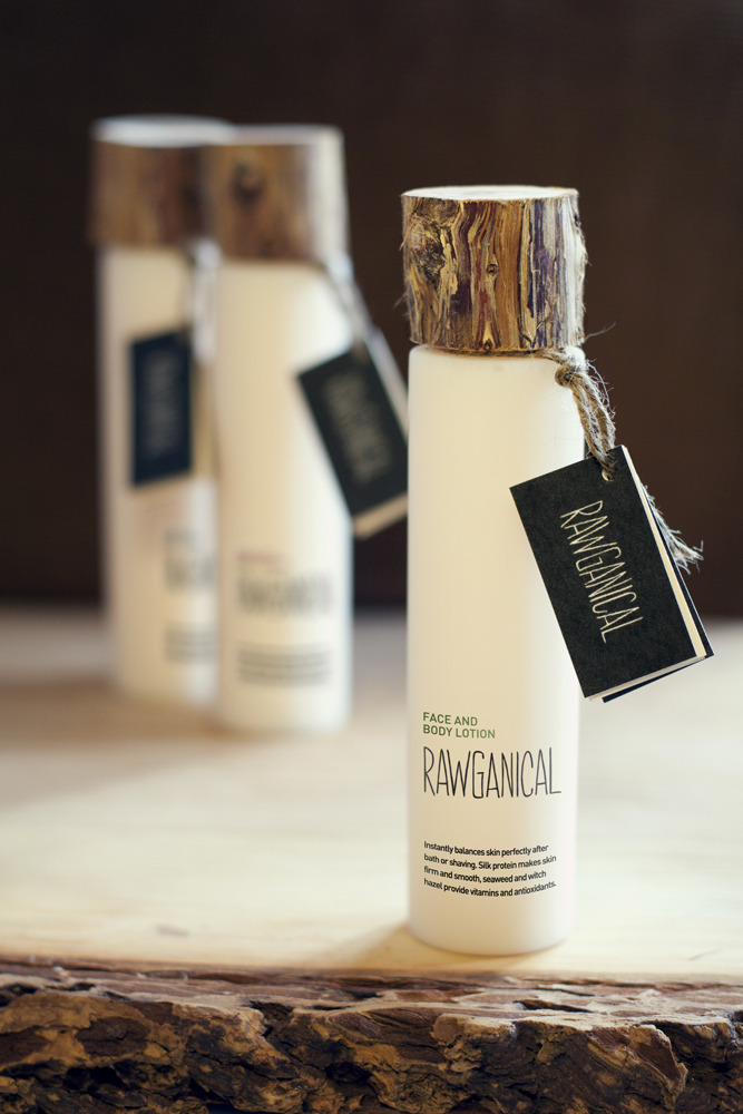 designersof:    Rawganical The assignment was to design a new line of four organic products for a luxurious hotel and the Scandinavien marked. As a part of the task we also had to come up with a product name which reflected the brand's qualities and values.We came up with the name 'Rawganic' and the idea to make a really raw and neat wood lid on a minimalistic designed bottle.Made by Randi Sjælland Jensen, Ingeborg Lund and Casper Holden as a fictional school project at 'Skolen for Visuel Kommunikation' in Denmark.