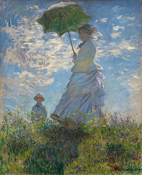 Claude Monet, Woman with a Parasol - Madame Monet and Her Son, 1875 One of a few paintings Monet did on his wife and son. The bright colors and low vantage point almost makes it seem like you're staring into the sun. The clouds and her white dress both seem to be blowing in the wind.