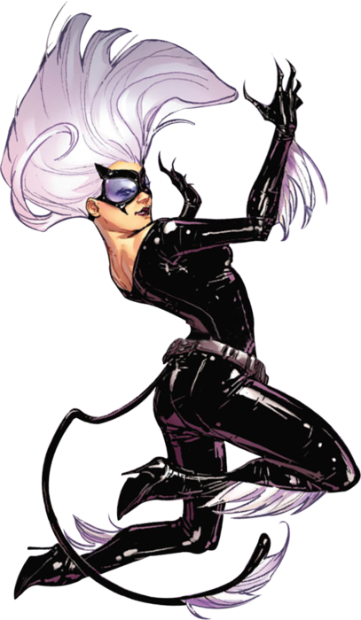 [ an image of Felicia Hardy dressed as Ultimate Black Cat jumping upwards, her back facing the viewer. her hair is twisting around her and her hands are raised before her. her expression is smug. ]  — Sara Pichelli