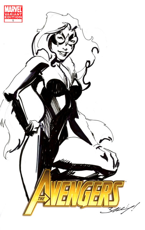 [ an ink drawing of Ultimate Black Cat on a cover of The Avengers. shes leaning against the title with one knee up, one hand on her hip and the other on her knee, and a smile on her face. ]  — Mark Bagley