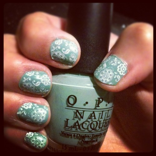 OPI Mermaid's Tears over Konad stamping plate!  (Taken with instagram)