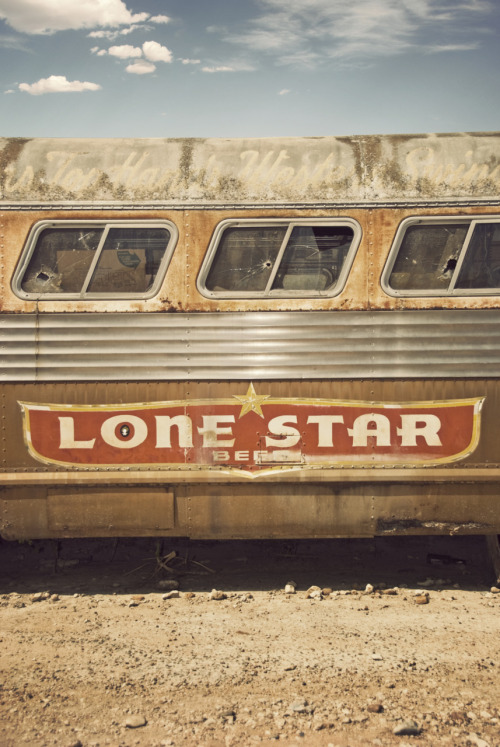 Lone star bus outside the broken spoke Austin texas