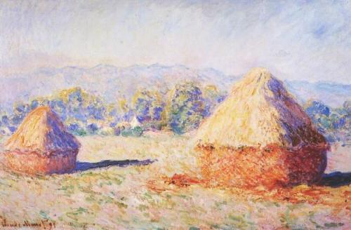 "Claude Monet, Haystack (Winter), 1890 This is my favorite from the Haystack series. I love how even though the prominent color is white, you can find every other color woven in with the white to create not just one shade, but every variation of white you could have ever dreamed. Look at it closely. There's pinks, purples, greens, oranges, browns, yellows and reds all contained within the ""white,"" which blends seamlessly into a snowbank when you step back from the painting. The haystacks sit underneath a blanket of snow, and the brushstrokes cover the painting in a flurry of colors."