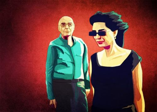 "Illustration from a still of ""José and Pilar"", the documentary about José Saramago and Pilar del Rio, for an article about the upcoming book with the same title by Miguel Gonçalves Mendes. 