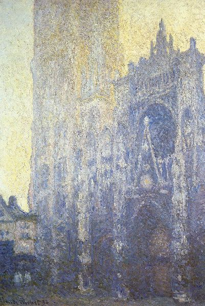 Claude Monet, La Cathédrale de Rouen, 1894 Monet did a series of over thirty canvases of the Rouen Cathedral, painting it at different times of the day and night, and in different weather conditions. I like this one because it captures the moment after a sunrise when half the world is covered in sunlight and the other is in shadow.  Monet actually suffered nightmares about the Cathedral after painting it so much, he began to hallucinate and his paintings of the building grew steadily darker. Above all, this series shows his skill with texture, because it is primarily the layered effect of paint that builds up to mimic the stone.