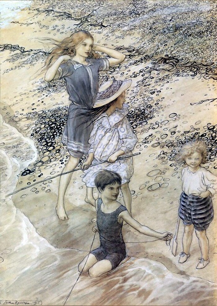 Children at the Seashore Arthur Rackham (1867-1939)