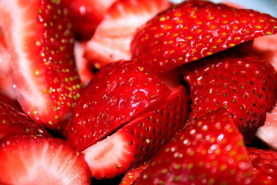 "Eating the sweetest, juiciest strawberries right now. The cartons were ""Buy 1, Get 2 Free"" at Save Mart in #Porterville. Yummmmmmm! We've already eaten a whole carton. g4rlic:  photography blog"