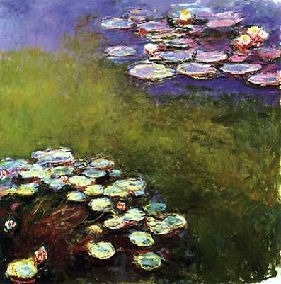 Claude Monet, Nympheas, 1901 Part of Monet's famous series of over 300 paintings of is water lilies in his garden at Giverny. He painted most of these while he was developing cataracts, which some say can explain the increasingly loose brushwork and style of thickly textured paint. I think that he was just developing his amazing style.