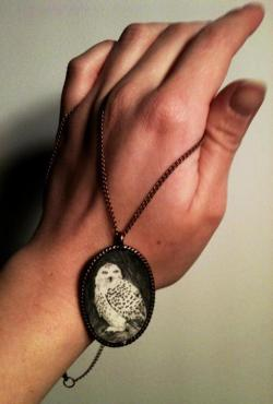 Snowy owl pendant. All of my necklaces are hand-drawn or painted; each is one of a kind.
