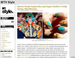 "MTV Style features Polished Paws Up! First and foremost, a HUGE thank you to  Chrissy Mahlmeister of MTV Style for the write up (not to mention the amazing support)!  After checking my mentions yesterday, I couldn't believe what I was seeing (and I still can't!), that MTV—THE MTV—did a wonderful little feature on my lil' old Tumblr here.  Amazing!  I'm still so stoked and excited!  Here's a blurb from the article:  Ladies, there's something UH-MAZING happening on the interwebs, and we need to talk about it, like, right now. And, since it's #ManicureMonday,  we'll give you three guesses as to what it's about… SPOILER ALERT: It's  about nails. Really, REALLY good nails. We're always (and we mean  al-ways) on Tumblr drooling over the stellar nail art that fills our  dashboard on a daily basis, but we stumbled upon something spectacular  in one teeny, tiny corner of the web that we literally could not stop  ""oooh-ing"" and ""ahhh-ing"" over. Everyone, meet Polished Paws Up. Polished Paws Up, meet everyone. This nail art Tumblr is run by one of Lady Gaga's  Little Monsters who creates original (and BEAUTIFULLY EXECUTED) nail  designs based off of Lady Gaga's ensembles. I KNOW, I KNOW, it sounds  amazing, and it is, but one of the best parts about this Tumblr is that  she makes nail art we'd actually want to recreate on our own REGARDLESS  of it being an homage to the Gags.  Check out the link at the top of the post for the full write up!  They feature my Versace-palooza Chain design and my Mint Blonde and Lace look!  HUGE thanks again, MTV Style! ~~~  A second amazing feature for PPU comes courtesy of Nail Art 101 (also found here on Tumblr)!  They're currently featuring my You And I design as their Mani Of The Week, plus I did a little mini interview with them, so head over there and check that out!  I can't thank you guys enough for the support!  Thanks again! ~~~  One final update!  I've made @PolishedPawsUp it's very own Twitter page, so follow me over there for extras and sneak peeks! New nails coming *very* soon!  Perhaps you'll see a sneak peek on Twitter! ox PPU"