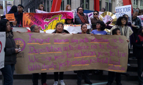 The Adelante Alliance, a non-profit supporting low-income immigrant communities in Brooklyn, protests in solidarity with the Women Support Occupy rally, Sunday at Zuccotti Park.
