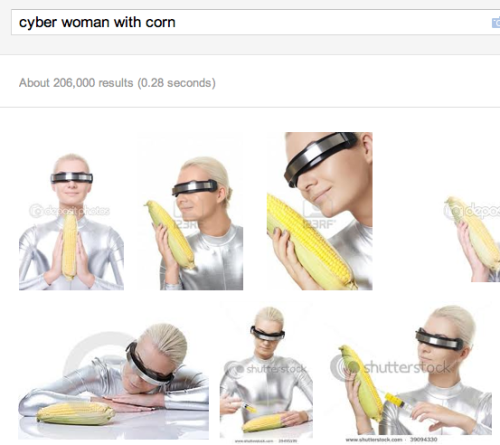 """cyber woman with corn"""