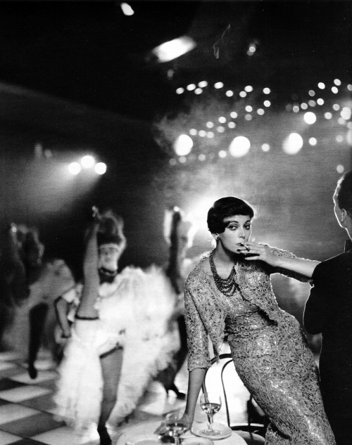 theniftyfifties:  Fashion at the Moulin Rouge. Photo by Richard Avedon.