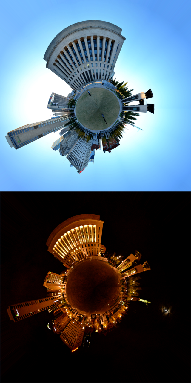 Day and Night Stereographic projections of downtown Nashville.