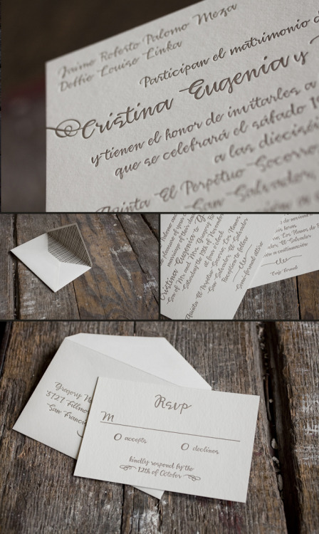 (via Modern   Traditional Bilingual letterpress wedding invitations! | Eco-friendly letterpress inspiration | Smock)