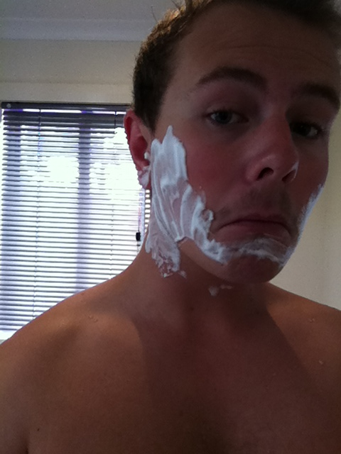 Careful application of shaving cream is key.