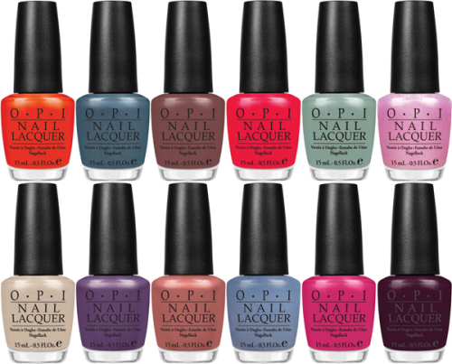 OPI Holland Collection Spring/Summer 2012.  Gouda Gouda Two Shoes - an intriguing rosy tone Wooden Shoe Like to Know? - a lovely shimmery chocolate-brown tone I Don't Give a Rotterdam! - steal-blue shimmery tone A Roll in The Hague - a fabulous orange hue Pedal Faster Suzi! - a lust-worthy pink lavender shimmery hue Dutch 'Ya Just Love OPI? - a rich plum hue Thanks a WindMillion - a breezy sea green color Red Lights Ahead…Where? - a gorgeous coral red tone Kiss Me on My Tulips - a girly hot pink tone Vampsterdam - a seductive deep purple shade I Have Herring Problem - a shimmery green-blue shade Did You 'ear About Van Gogh? - a trendy sandy bisque shade