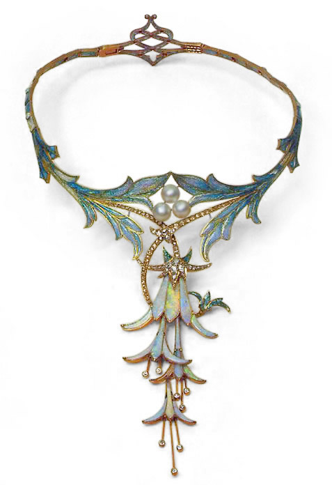 metaltrend:  Art Nouveau 18K gold floral enameled necklace with opals, pearls and diamonds - Alphonse Mucha