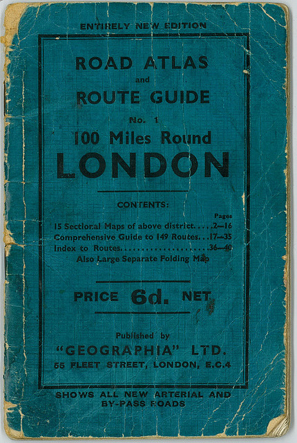 thegiftsoflife:  Road Atlas and Route Guide, No. 1, 100 Miles Around London