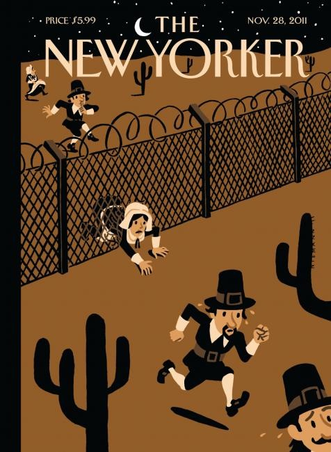 "Bag's Take-Away:  GOP border hysteria, Gitmo forever, paramilitary vs. OWS. Props to New Yorker Thanksgiving cover!   (illustration: Christoph Niemann caption: ""Promised Land"") ————— Topping LIFE.com's 2011 list of Best Photo Blogs, follow us at: BagNewsNotes; BAG Twitter; BAG Facebook; Bag by Email."