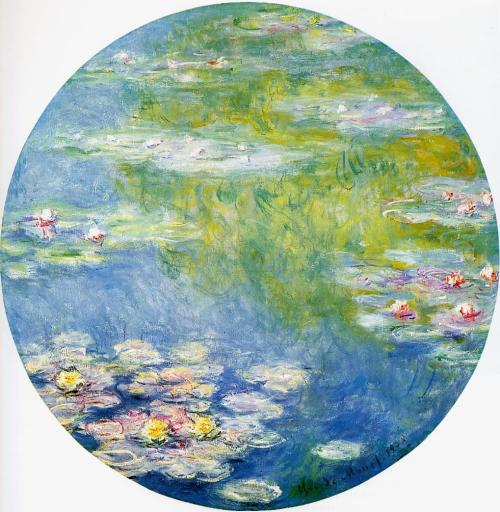 Claude Monet, Water Lilies, 1908 This piece sort of represents what the whole series was about. An exploration with color, style, texture and form (or lack thereof). The unconventional shape of this just adds to the novel feel. My favorite part of Monet's paintings is that from a distance, or at a smaller scale, the painting looks very coherent and designed, but up close those careful lines dissolve into a flurry of brushstrokes and piled-up paint. Monet can literally take some pink paint and swirl it around, and somehow it fits perfectly into a composition.