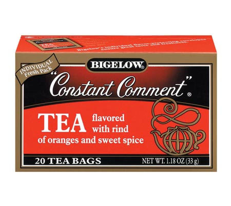 gatsbyeverlark:  Currently Drinking: Bigelow Constant Comment Tea.  Delicious.  I am not usually a fan of heavily spiced teas, aside from chai or Earl Grey but this is really good.  sweetened with just a smidge of honey and spoonful of sugar, it's pretty sweet on its own.  Bigelow usually is spot on with their flavors and to date is my preferred brand of Earl Grey, every other kind is wayyyy too flowery for my liking.