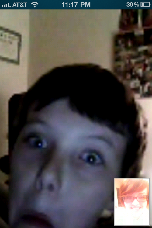 Skyping with my little brother, he is such a dork & I miss him so much!! We are best friends :)  Poor quality because I was on my phone but whatever :P
