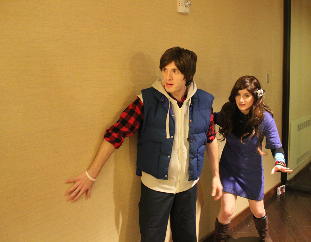 "Shot of my Junpei cosplay from 999 with the always lovely Rinchansflower as June. This was actually a candid shot taken of her posing me. It screams ""cover of a hardy boys mystery book. ""Jumpy and Kanny in: The Mystery of the Haunted Cruise-liner"""