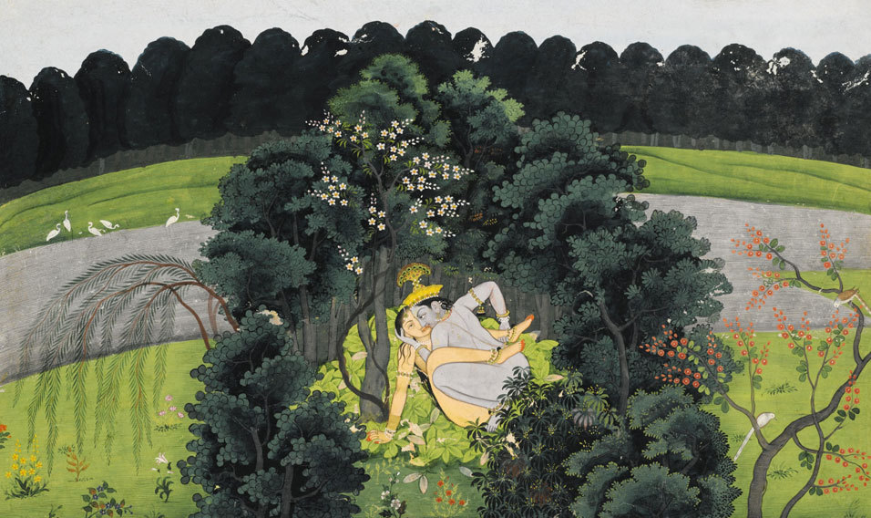 An Illustration from the Gita Govinda: Krishna and Radha in a Bower, India, Kangra or Guler, circa 1780. Opaque watercolor heightened with gold on paper.  Via