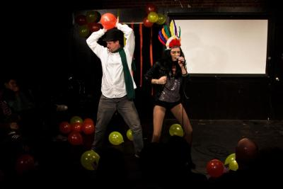 Amaahhhzing pics from Tremendosaur's Thanksgiving show at UCB just hit the internets, taken by Mr. Jon Mackey. Here's one of me and Meharry playing Chaz and Cher. So happy this moment was caught. It was a real ball on the stage and in my heart!!!