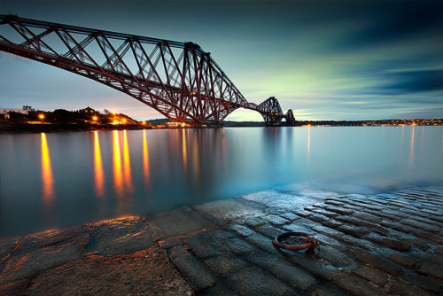 Forth Rail Bridge into the blue - Explored :) by stuart1202 on Flickr.