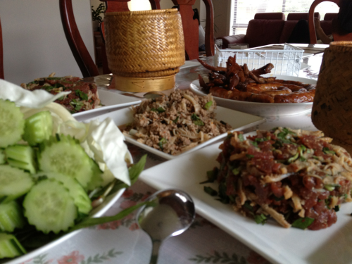 mei—jun:  Laos sausages, raw & cooked beef salad with sticky rice & fresh veggies - Dinner :)  shareeeeeeeeeeee! LOL looks soo good haha