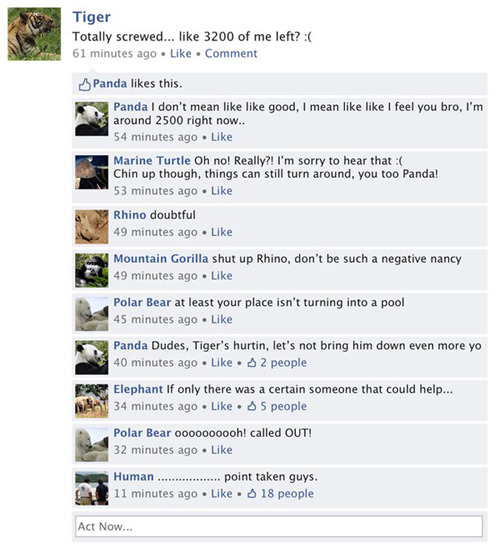 The Species Network - what animals would say on Facebook…  - Created by Isaac Fresia from Halifax, Canada