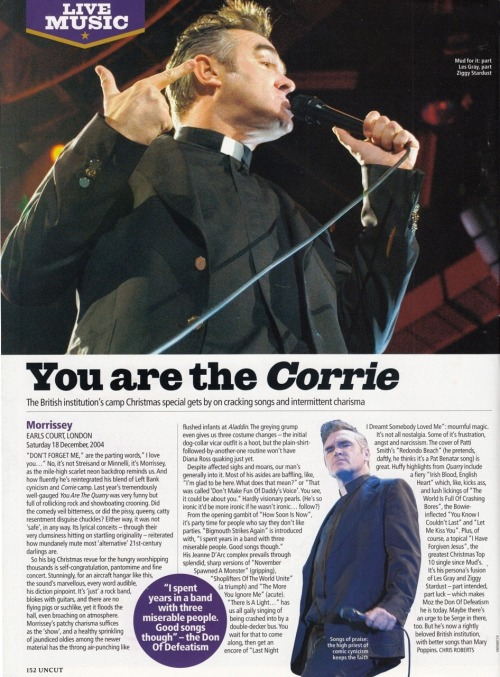 Review of Morrissey's December 2004 gig at Earl's Court, by Chris Roberts for Uncut.