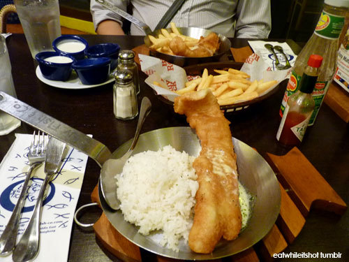 Havin' the usual at Fish N' Chips: Just for me Best Fish N' Chips in Town with rice, chips, and extra chips